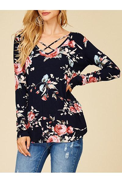 Designed V-Neck Floral Printed Long Sleeve T-Shirt