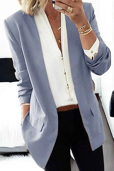 Brief Long Sleeve Pure Colour Loose Women Medium Blazer