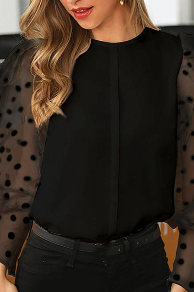 Womens Sexy Round Neck Polka Dot Blouse