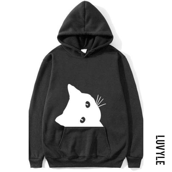 Black Casual Cat Print Plus Fleece Long-sleeved Hoodie Black Casual Cat Print Plus Fleece Long-sleeved Hoodie