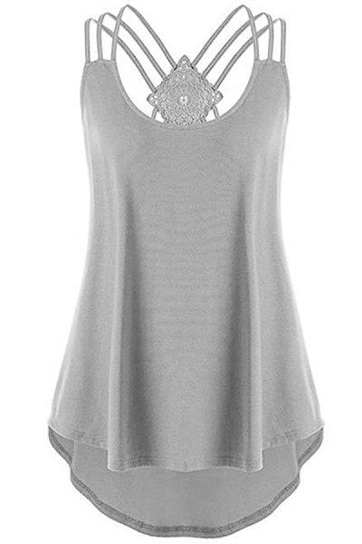 Round Neck Patchwork Plain Sleeveless T-shirt