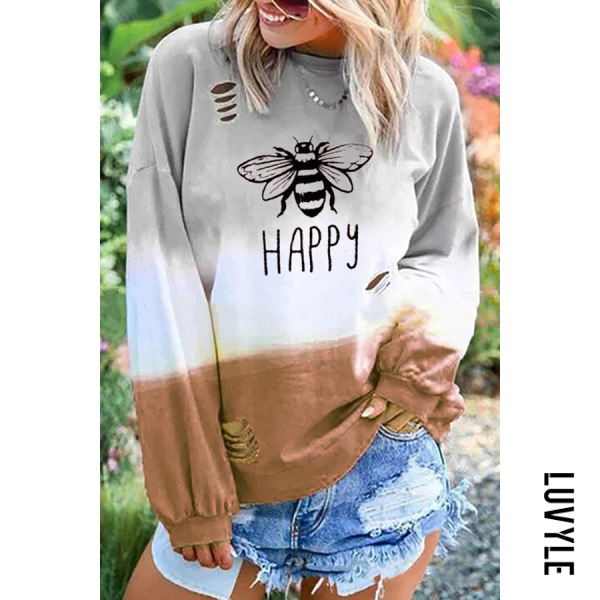 Coffee Casual Round Neck Long Sleeve Broken Holes Printed Colour T-Shirt Coffee Casual Round Neck Long Sleeve Broken Holes Printed Colour T-Shirt