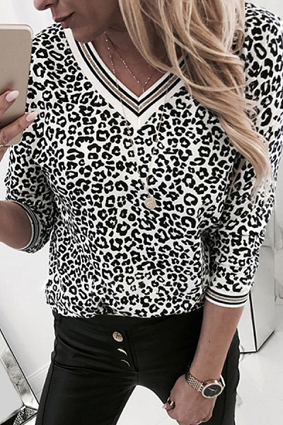 Fashion V Neck Long Sleeve Leopard T-Shirt