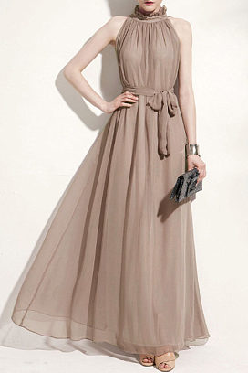 high neck  asymmetric hem  belt  plain maxi dresses
