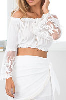 Strapless  Backless  Exposed Navel  Plain  Bell Sleeve Shirts
