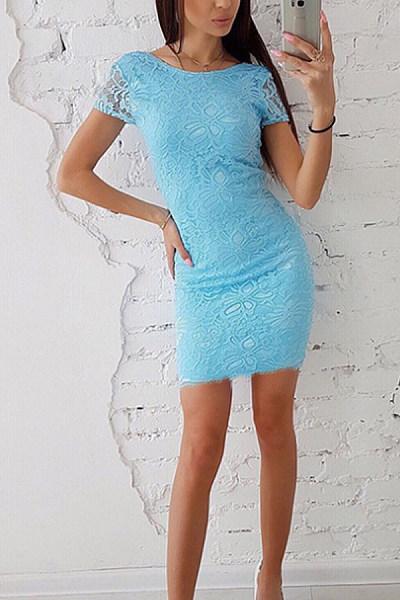 Round Neck  Backless  Plain  Short Sleeve Bodycon Dresses