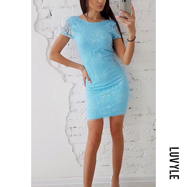 Light Blue Round Neck Backless Plain Short Sleeve Bodycon Dresses Light Blue Round Neck Backless Plain Short Sleeve Bodycon Dresses
