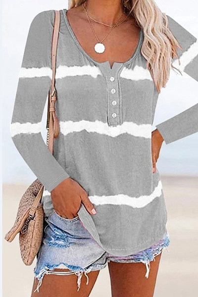 Tie-dye Printed Fashion Long Sleeve Button T-shirt