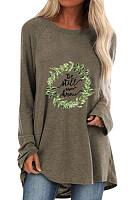 Round neck l grass print loose long sleeve T-shirt