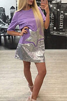 Round Neck  Glitter  Patchwork  Short Sleeve Casual Dresses