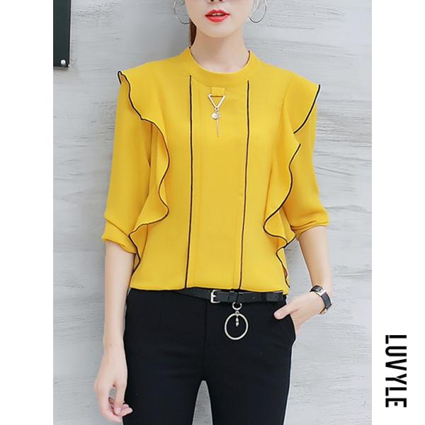 Yellow Band Collar Contrast Trim Flounce Long Sleeve T-Shirt Yellow Band Collar Contrast Trim Flounce Long Sleeve T-Shirt