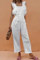 Square Neck  Backless  Plain  Sleeveless Jumpsuits