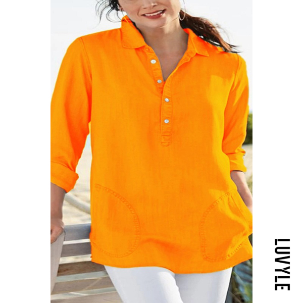 Commuting Bracelet Sleeve Turndown Collar Loose-Fitting Plain Shirt - from $26.00