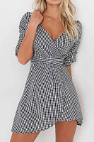 V Neck  Asymmetric Hem  Belt Loops  Plaid Casual Dresses