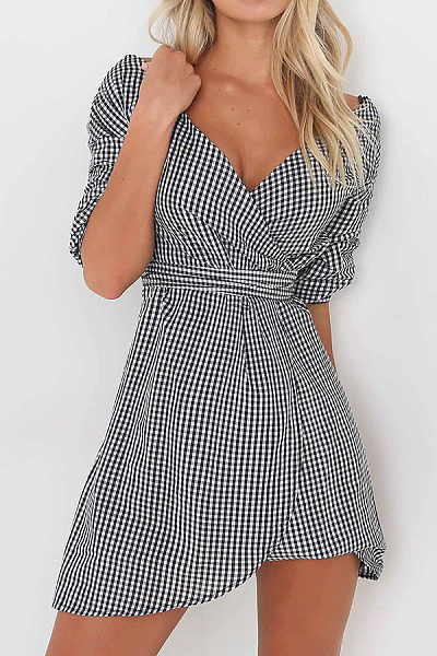 V Neck  Asymmetric Hem  Belt Loops  Plaid Casual Dresses
