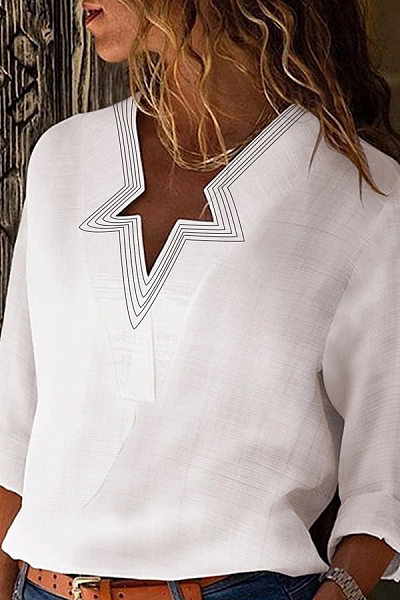 Simple Star Collar Long Sleeve Solid Color Shirt