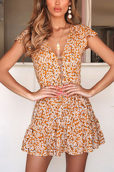 V Neck  Floral  Short Sleeve Skater Dresses