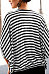 Round Neck  Zipper  Striped  Batwing Sleeve T-Shirts