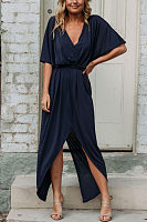 V Neck  Asymmetric Hem  Plain  Half Sleeve Maxi Dresses