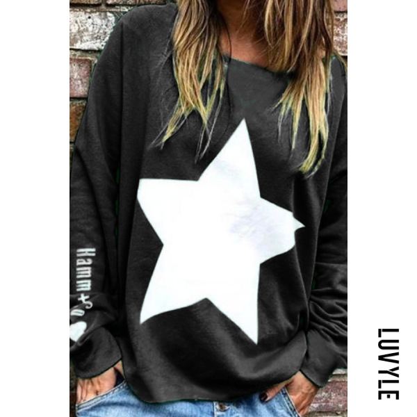 Black Casual Round Neck Loose-Fitting Star T-Shirt Black Casual Round Neck Loose-Fitting Star T-Shirt