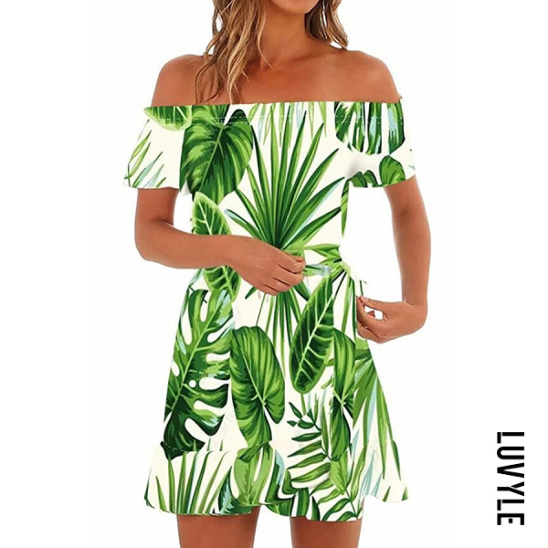 Green Off Shoulder Printed Short Sleeve Casual Dresses Green Off Shoulder Printed Short Sleeve Casual Dresses