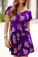V Neck  Printed  Short Sleeve Casual Dresses