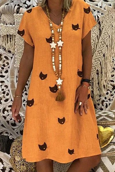 V Neck Animal Printed Casual Dresses