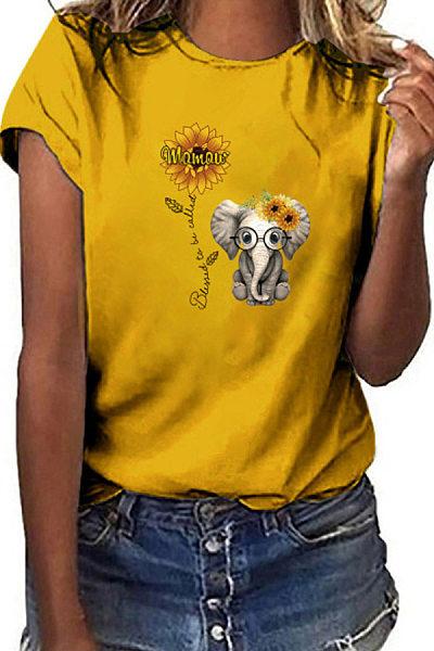Sunflower Elephant Printed Casual T-shirt