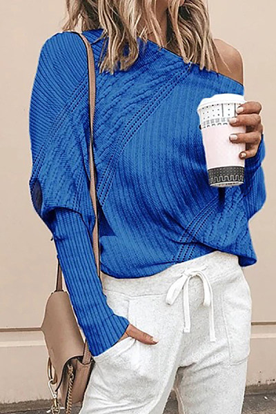 Women's casual one-neck twist sweater