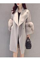 Longline Plain Lapel Pocket Woolen Coat