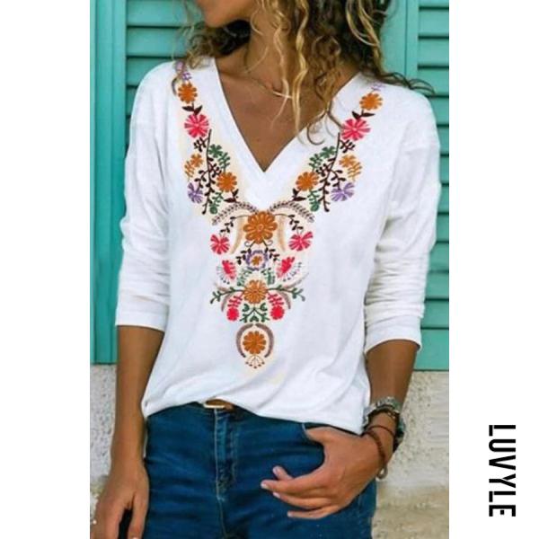 Ladies Fashion Bohemian V-neck Printed Loose Long Sleeve Top