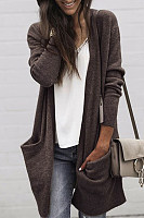 Asymmetric Hem  Draped Pocket  Plain Cardigans