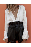 Ruffled Stitching Shirt Jumpsuit