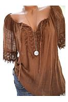 Lace Dekorative Kurzärmelige Bluse