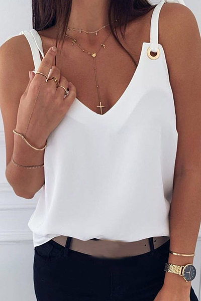 Casual Solid Color V-Neck Lace-Up Slip Vest