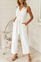 V-neck sleeveless solid color loose jumpsuit