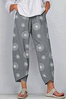 Printed Elastic Waist Casual Pants