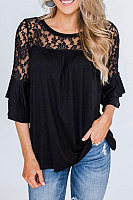 Casual Round Neck Cropped Sleeve Lace Top