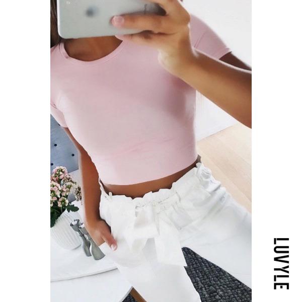 Pink Round Neck Exposed Navel Plain T-Shirts Pink Round Neck Exposed Navel Plain T-Shirts
