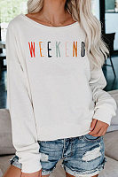 Fashionable Loose Long Sleeve Letter Print Sweatshirt