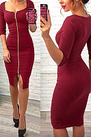 Scoop Neck  Zipper  Plain  Half Sleeve Bodycon Dresses