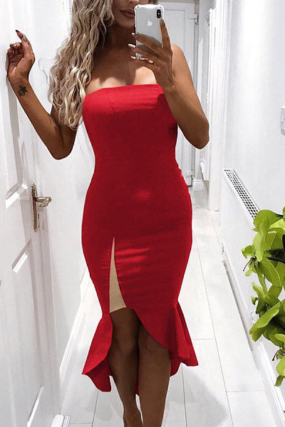 Strapless  Mermaid  Plain  Sleeveless Bodycon Dresses