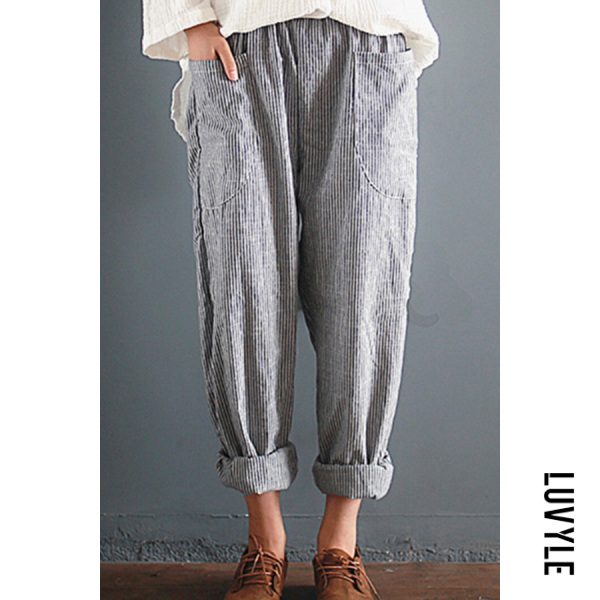 High waist loose cotton and linen stripe wide leg pants