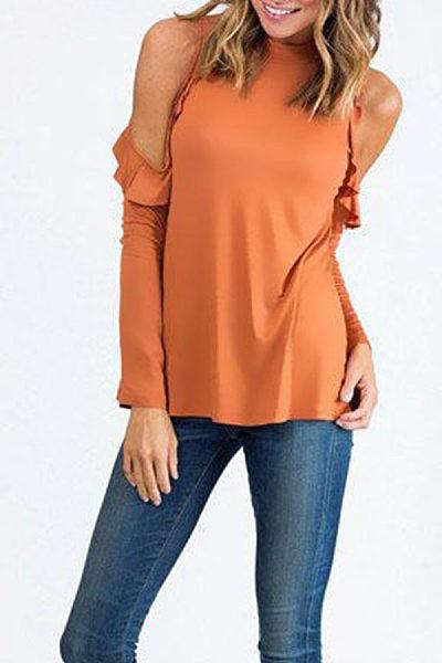 Round Neck  Flounce Single Button  Plain T-Shirts