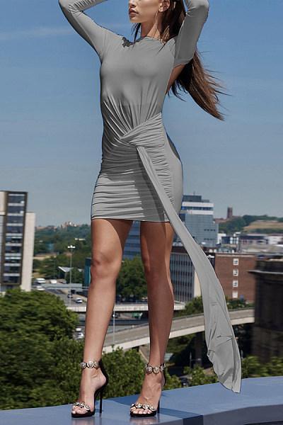 Fashion Round Collar   Sexy Backless Mini Bodycon Dress