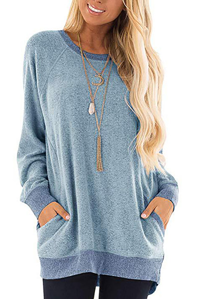 Casual Loose Women Round Neck Colouring T-shirt