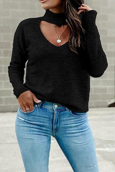 Short High Collar Hollow Out Knit Sweater