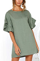 Round Neck  Plain  Bell Sleeve  Short Sleeve Casual Dresses