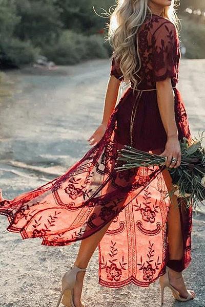 Deep V Neck  High Slit  Plain  Half Sleeve Maxi Dresses