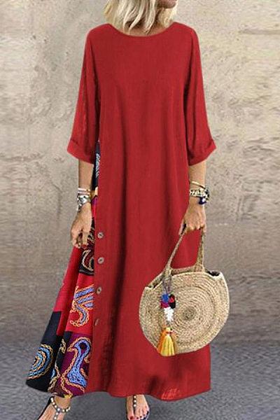 Casual Round Neck Button Bracelet Sleeve Splicing Dress